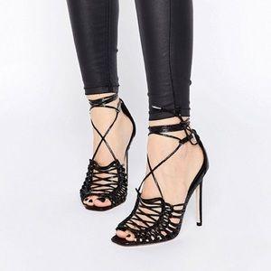 ASOS Hushed Black Strappy Sandals Stilettos Size 6